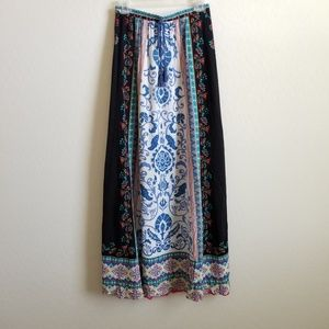 Flying Tomato Maxi Skirt Floral Scroll Border S
